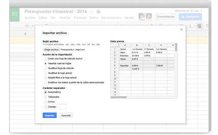hojas de calculo con google for work